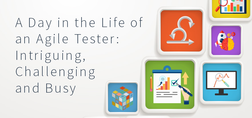Agile tester's typical day, design discussions, test planning, strategizing for upcoming sprints, collaborating with developers, user stories, peer reviews, test execution, requirement analysis, automation strategies. TestRail