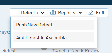 TestRail Release 6.4 Push Defect drop-down