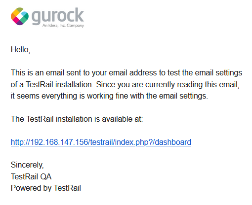 TestRail email with logo