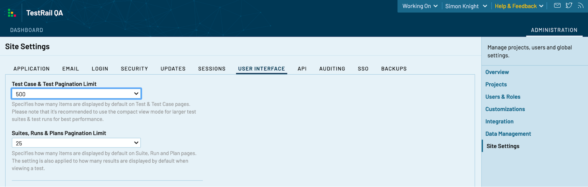 TestRail user interface console