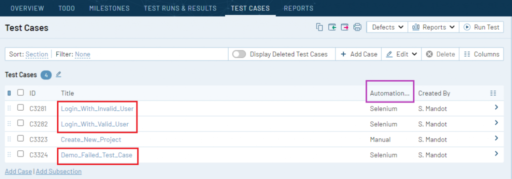 Update results back to test cases in TestRail