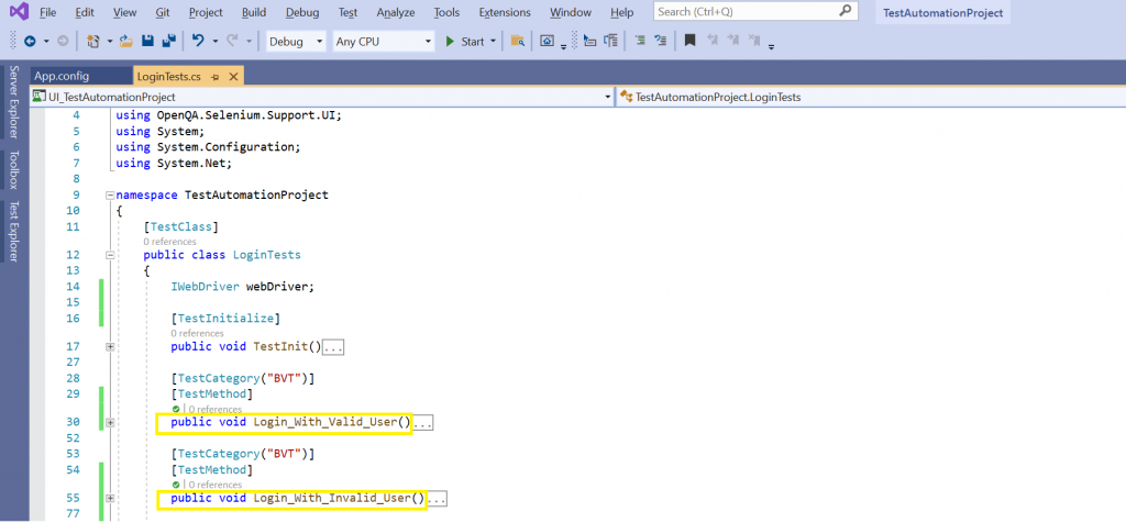 Test automation file in Visual Studio